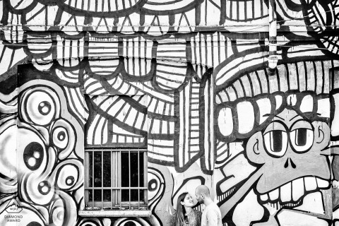 Milano, Italy Fine Art, Black and White Pre Wedding Portrait with Wall Mural.
