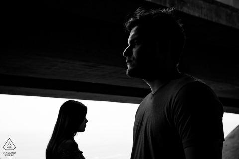Portret pary z kształtami Lima Miraflores - czarno-białe zdjęcia dzieł sztuki