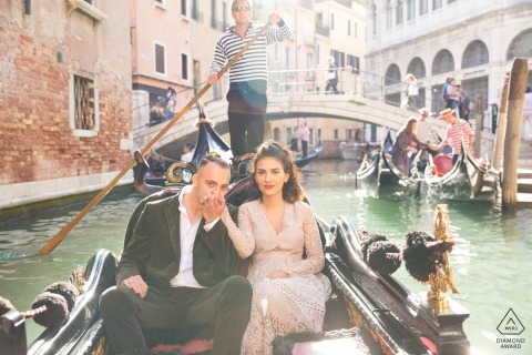 Canal close to Piazza San Marco - Venice Italy | A couple engagement shoot during a gondola ride in Venice