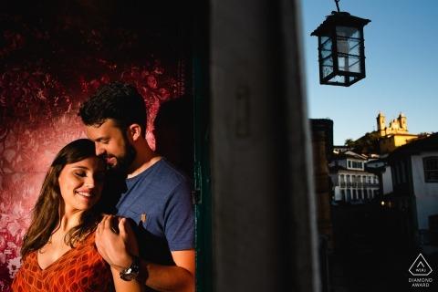 Brazil pre wedding session with a spot light in Ouro Preto