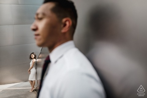Engaged couple profile composition at Walt Disney Concert Hall - Pre wedding pictures.