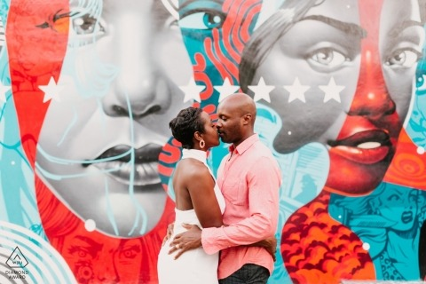 Couple kissing in Wynwood, Miami, FL - Fine Art Mural Engagement Shoot
