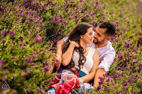 Holambra couple on the flower field during engagement shoot