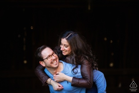 Tinicum Park, Bucks County, Pennsylvania engagement session with a piggy-back ride