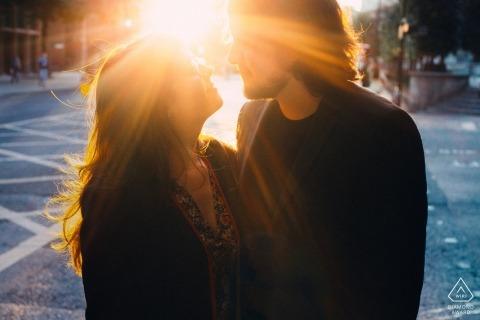 London - UK Bride and groom - Photographer shooting straight into the sun