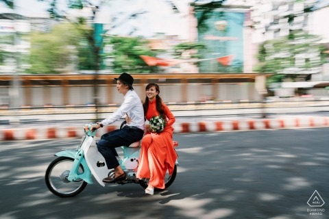 Ho Chi Minh city pre-wedding photo session with the bride in Aodai, tradition clothes of Vietnam