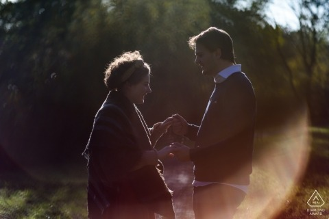 Engagement Shoot at a Park in Leiden, The Netherlands - Portrait of a Lovely couple with nice rim light