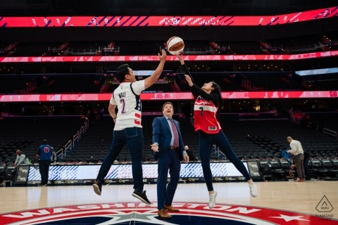 Washington Wizards Arena Tip Off engagement portrait session on the court