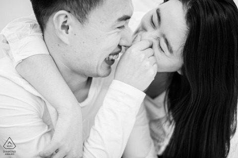 Shandong Couple in Love pose for Engagement Portrait in China