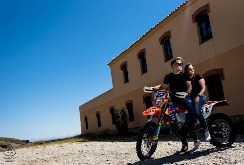 Spain Dirt Bike loving couple pre-wedding portrait - KTM loving Almería couple