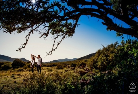 Engagement Couple Portrait - Image contains: Sunset in Almería, dancing, sunset, trees