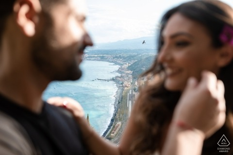 Taormina Engagement Portrait Session - Image contains: mountain, view, top, looking, down, bird, beach