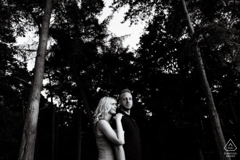 Chicksands Wood, Bedfordshire, UK Engagement Couple Photography - Portrait contains: trees, forest, lighting, black, white