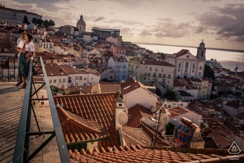 Lisbon, Portugal Engagement Photography - Image contains: Tagus River, view, roofs, water, sunset