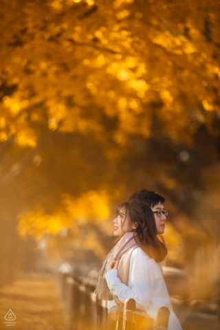 China Prewedding Session Photography - Portrait contains: vertical, orange, fall, foliage, trees, couple