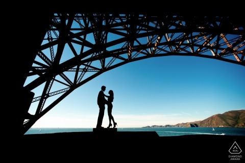 San Francisco, CA 	Silhouette under the Golden Gate Bridge. Engagement Couple Photography - Portrait contains: SF, CA, water, bay
