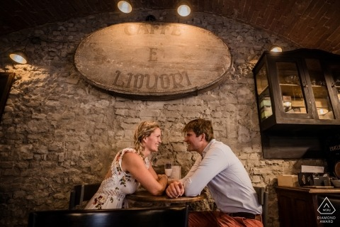 Siena, Tuscany Engagement Photography - Image contains:Having fun in the old Ostaria