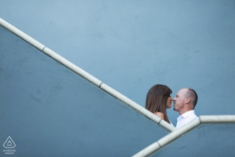 Yountville, California Engagement Couple Portrait - Image contains: stairs, artistic, fine, art, blue, kissing