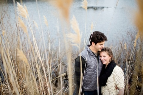 Providence Rhode Island | Engagement Photography - Image contains: Couple next to lake