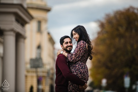 Autumn engagement session in Sofia centre with a young couple