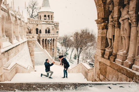 Budapest, HungaryProposal in Budapest - Couple Portraits in the Snow.