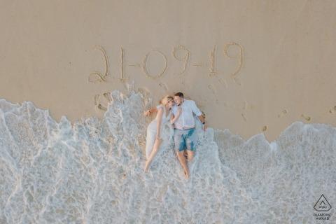 Rio de Janeiro - RJ - Brasilien Drohnenporträts - Verlobtes Paar: unser Hochzeitsdatum