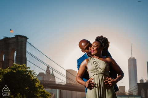 New York City Dumbo, Brooklyn Couple's portrait at the bridge.