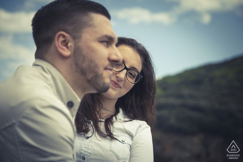 Portovenere Love portrait session with an engaged couple outdoors under blue skies