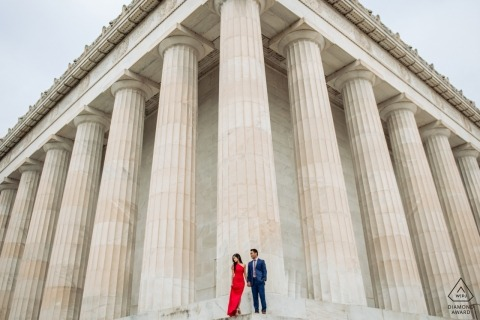 Washington DC - Lincoln Memorial - Morning engagement shoot at the Lincoln Memorial - Woman in Red Dress