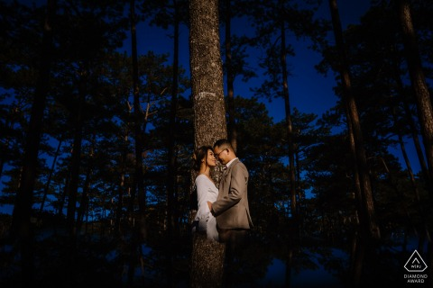 Dalat, VIETNAM Engagement photoshoot with a couple at the edge of the forest with tall trees.