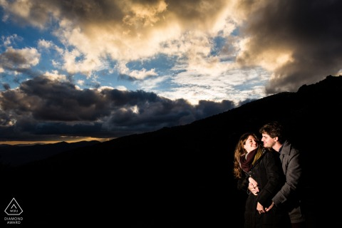 Navacerrada, Madrid (Spain) pre wedding portrait - A couple with last lights beautiful sky