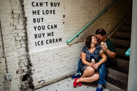 Jenni's Ice Cream Washington DC	- For the Love of Ice Cream - Engagement portrait with couple - Can't buy me love but you can buy me ice cream