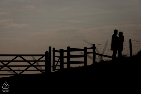 White Cliffs of Dover, Kent, UK engagement photography - A silhouette of a newly engaged couple