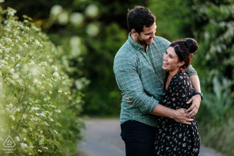 Bishopsbourne, Kent, UK Engagement Portrait | This couple have such a fun relationship - they share a joke as they walk