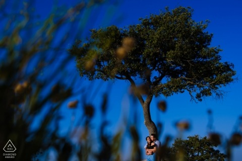 Engagement Photography - Image contains: Alicante Portrait in the trees - blue sky