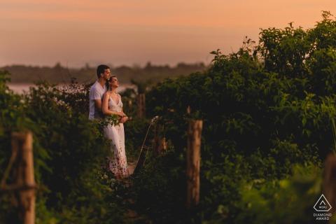 Aracruz, Espírito Santo, Brazil posed portraits at sunset during engagement session