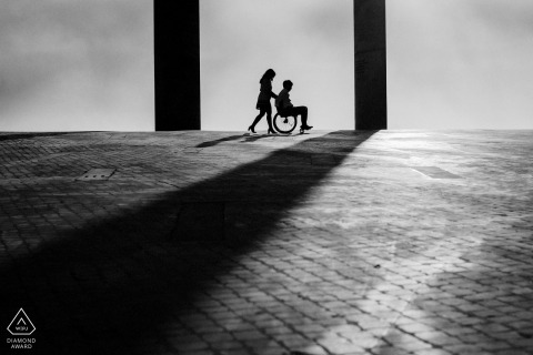 Lisboa Couple Portrait in Black and White | Wheel Chair and Shadows