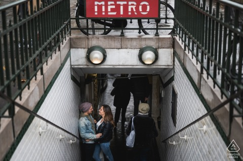 Paris, France Metro Station Engagement Portrait of a Couple on the Stairs