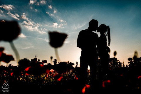 Prewedding portraits in flower fields of Sofia-Bulgaria