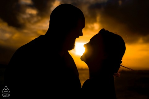 El Morro, San Juan PR engagement photographer: Simple Silohuette Portrait during sunset.