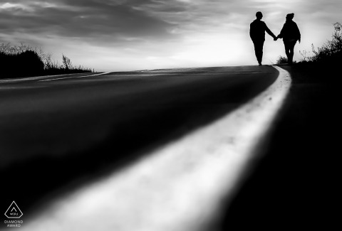 Mojacar Almeria Couple Photoshoot - Engagment Portrait - Shadows in street