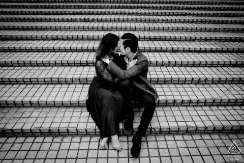 Engagement Portrait Session in Hong Kong - Photos on the brick steps with a couple in love