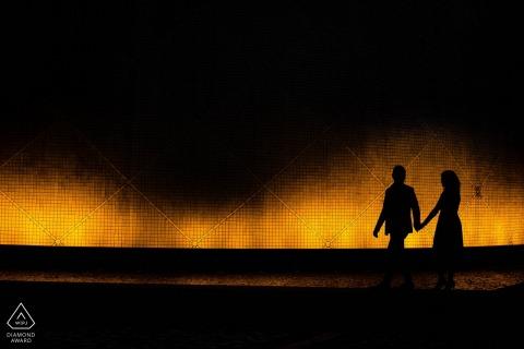 Sesión de fotos de compromiso de Hong Kong en la noche