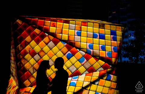 Hong Kong Engagement Photos - Red, yellow, orange, blue and black.