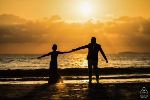 W Punta Mita Resort, Punta Mita, Mexico engagement shoot | Photo includes: couple, silhouette, water, sunset, dancing