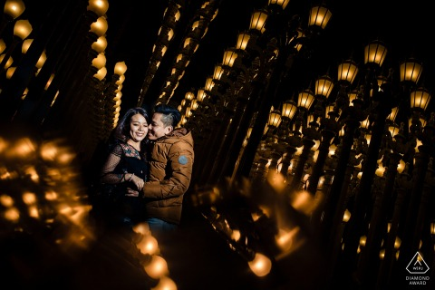 LACMA Museum Engagement Photo Session - Photographer: their first trip was here and 5 years later the came back for a professional session.