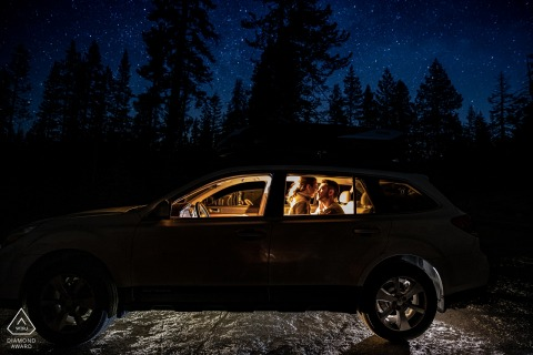 Yosemite National Park Engagement Portraits inside a Lit Car at Night - Beyond the Stars