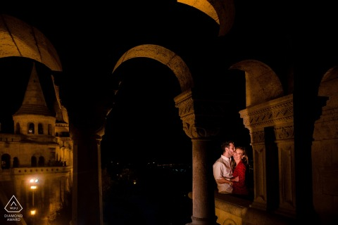 Engagement photo session in Budapest - Arches and Warm Light
