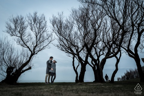 Biarritz, France Pre-Wedding Engagement Portraits with The couple