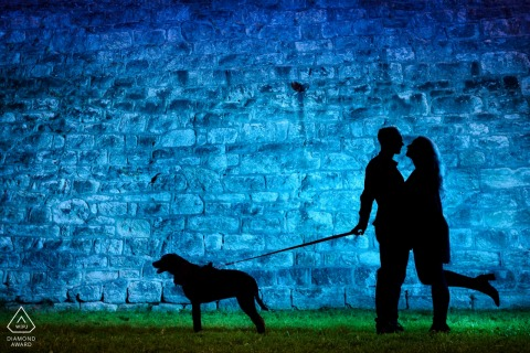 Eastern State Penatentary Couple photo with a dog - Engagement Portraits